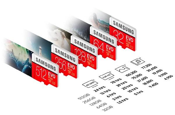 capacitate stocare date card memorie microsd Samsung Evo+