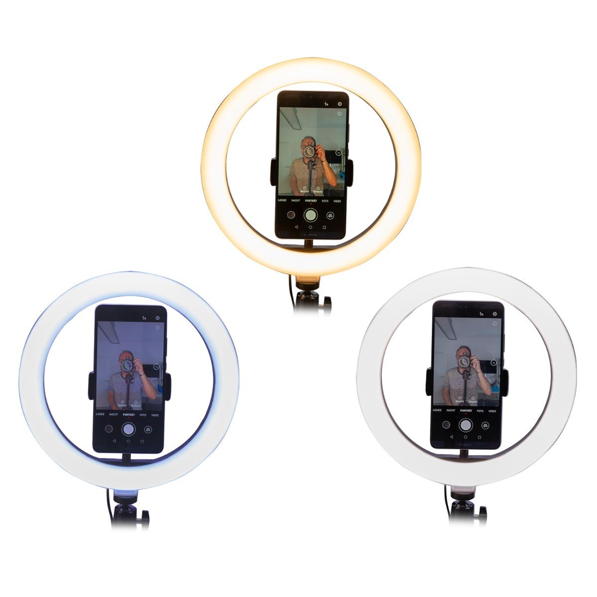tripodul cu lampa led ring light are trei moduri de iluminare