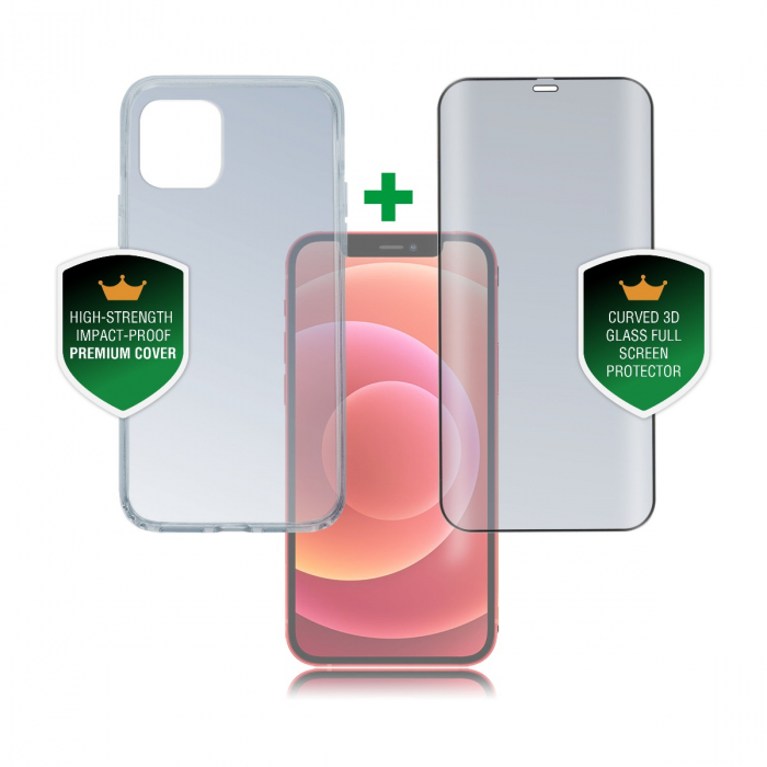 4smarts set protectie 360 premium husa plus folie sticla iphone 12 mini