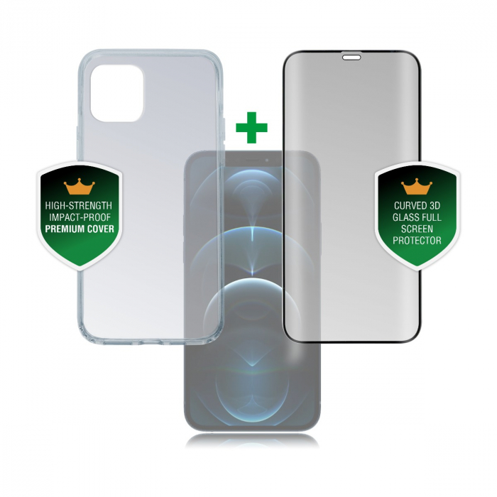 4smarts set protectie 360 husa protectie transparenta si folie sticla iphone 12/12 pro