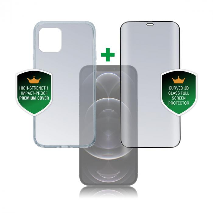 4smarts set protectie 360 premium folie sticla plus husa transparenta apple iphone 12 pro max